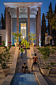 Children playing in front of tomb of Saadi in Shiraz, Iran, Asia