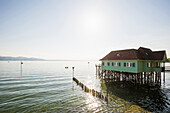 Aeschacher bath, historic pile dwelling outdoor pool, Lindau, Lake Constance, Bavaria, Germany