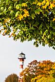 Autumn at the Elbe Beach, Lighthouse Rissen, Hamburg, Germany