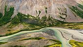aerial of a riverbed in the Kluane National Parc, Yukon Territory, Canada