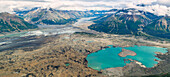 aerial of glacier lake in the Kluane National Parc, Yukon Territory, Canada