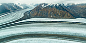 Aerial view of the Kaskawulsh-glacier, Kluane National Parc, Yukon Territories, Canada