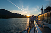 sunset on the deck of the ferry, Inside Passage, Canada