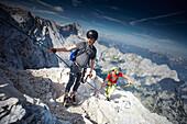 Kids, Boys, Mother on Alpspitzferrata,  Alpspitze, Wetterstein Range, bavaria, Germany