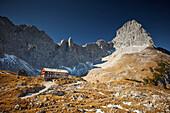 Lamsenjoch alpine hut, Lamsenspitze in the back,  Eastern Karwendel Range, Tyrol, Austria