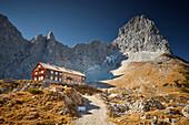 Lamsenjoch alpine hut (closed) Lamsenspitze in the back,  Eastern Karwendel Range, Tyrol, Austria
