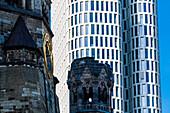 Kaiser Wilhelm Memorial Church, skyscraper facade, Breitscheidplatz, Berlin, Germany
