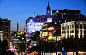 Nightspot to Place Jacques-Cartier from the harbour, Montreal, Quebec, Canada
