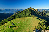 View towards two alpine huts with Feichteck and Central Alps in background, from Karkopf, Chiemgau Alps, Upper Bavaria, Bavaria, Germany