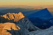 View down to Kleiner Peitlerkofel and Tullen with shadow of Grosser Peitlerkofel, from Peitlerkofel, Dolomites, UNESCO World Heritage Site Dolomites, South Tyrol, Italy