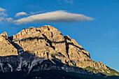 Mood of clouds above Monte Cristallo, Sexten Dolomites, Dolomites, UNESCO World Heritage Site Dolomites, Venetia, Italy