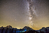 Nightsky with milky way above Watzmann and Hochkalter, from Toter Mann, Berchtesgaden Alps, Upper Bavaria, Bavaria, Germany