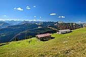 Alpine huts at Demeljoch with view to Karwendel, Demeljoch, Karwendel, Upper Bavaria, Bavaria, Germany