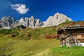 Alpine hut in front of rock walls of Kaiser, Wilder Kaiser, Kaiser range, Tyrol, Austria