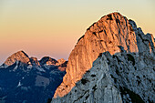 Sunset at Ruchenkoepfe with Wendelstein in background, Ruchenkoepfe, Spitzing area, Mangfall Mountains, Bavarian Alps, Upper Bavaria, Bavaria, Germany