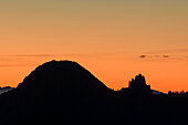 Silhouettes of Risserkogel and Plankenstein, from Spitzing area, Mangfall Mountains, Bavarian Alps, Upper Bavaria, Bavaria, Germany