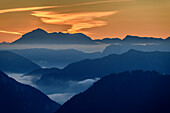 Silhouette of Hoher Goell at dawn, from Hochfelln, Chiemgau Alps, Upper Bavaria, Bavaria, Germany