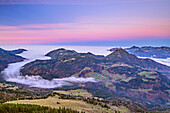 View from Bruennstein to Wildbarren and Chiemgau Alps with sea of fog and Earth's shadow, Bruennstein, Mangfall Mountains, Bavarian Alps, Upper Bavaria, Bavaria, Germany