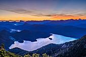 Morgenstimmung über Walchensee mit Rofan und Karwendel im Hintergrund, vom Herzogstand, Bayerische Alpen, Oberbayern, Bayern, Deutschland