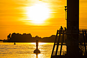 Sunset, Lighthouse, Elbe, Blankenese, Hamburg, Germany