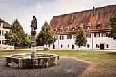 well in monastry yard, Blaubeuren, Alb Danube District, Swabian Alb, Baden-Wuerttemberg, Germany