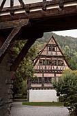 framework house at monastry yard, Blaubeuren, Alb Danube District, Swabian Alb, Baden-Wuerttemberg, Germany