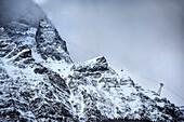Tyrol's funicular leads from Obermoos (Austria) up to the Zugspitze mountain, Grainau community, Garmisch-Partenkirchen, Bavaria, Alps, Germany