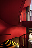 red stairways at interior of National Centre for the Performing Arts, National Grand Theatre, Beijing, China, Asia, Architect Paul Andreu