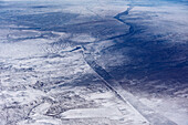 Aerial at Inner Mongolian steppe, China, Asia
