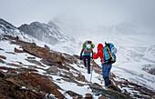 Zwei Alpinisten steigen im Sturm mit Schneefall zum Piz Tresero auf, Valfurva, Lombardei, Südtirol, Italien