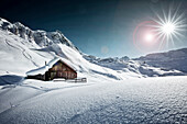 Alpine Hut in the snow, St Christoph /arlberg, Tyrol, Austria