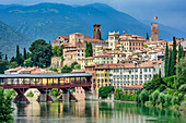 City of Bassano del Grappa with bridge Ponte degli Alpini, Bassano del Grappa, Venetia, Italy