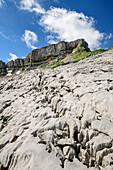 Karstplatten am Gottesackerplateau mit Hoher Ifen im Hintergrund, Allgäuer Alpen, Walsertal, Vorarlberg, Österreich