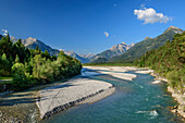 River Lech and valley of Lech with Lechtal Alps and Allgaeu Alps, Lechweg, Forchach, valley of Lech, Tyrol, Austria
