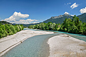 River Lech with Saeuling in background, Lechweg, Reutte, valley of Lech, Tyrol, Austria
