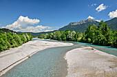 Lech mit Säuling im Hintergrund, Lechweg, Reutte, Lechtal, Tirol, Österreich
