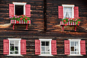 Windows at old Walser farmhouse, farmhouse, Warth, Lechweg, valley of Lech, Tyrol, Austria