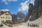 Hut rifugio Pisciadu with rock spires of Sella in background, hut rifugio Pisciadu, Sella range, Dolomites, UNESCO World Heritage Site Dolomites, South Tyrol, Italy