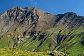 Mountain slope with banded rock, at lake Lac du Goléon, National Park Ecrins, Dauphine, Dauphiné, Hautes Alpes, France