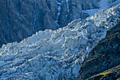 Glacier fraction of the Bossons Glacier, from the pyramid, Mont Blanc, Grajische Alps, the Savoy Alps, Savoie, France