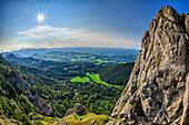 Look at rock wall by on samerberg and mangfall mountains, high-ries, Chiemgau Alps, Chiemgau, Upper Bavaria, Bavaria, Germany