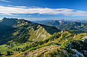 Mangfall Mountains with rotwand and rofan, from the Aiplspitze, Mangfall Mountains, the Bavarian Alps, Upper Bavaria, Bavaria, Germany