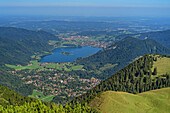 Deep views of Schliersee, from Hunter Kamp, Mangfall Mountains, the Bavarian Alps, Upper Bavaria, Bavaria, Germany