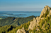 Rock towers with Lake Chiemsee in the background, high-ries, Chiemgau Alps, Chiemgau, Upper Bavaria, Bavaria, Germany