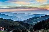 View of hilly landscape,  evening light, Schauinsland, Black Forest, Baden-Württemberg, Germany