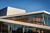 tow persons enjoy view from roof of opera, the New Opera House in Oslo, Norway, Scandinavia, Europe