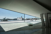 view at cornerstone, sculpture She lies in dockyard and ships, interior of Opera, the New Opera House in Oslo, Norway, Scandinavia, Europe