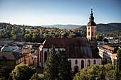 Panorama über Baden-Baden mit der Stiftskirche im Vordergrund, Kur und Bäderstadt, Baden-Württemberg, Deutschland