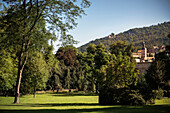 view from Spa gardens at church and ruin Hohenbaden (old castle), Baden-Baden, spa town, Baden-Wuerttemberg, Germany
