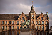 city hall and horseman statue, historic town center, Duesseldorf, North Rhine-Westphalia, Germany